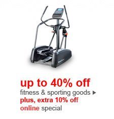 up to 40% off fitness & sporting goods | plus, extra 10% off online special