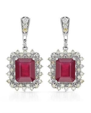 Ladies Ruby Earrings Designed In 14K White Gold $1,769