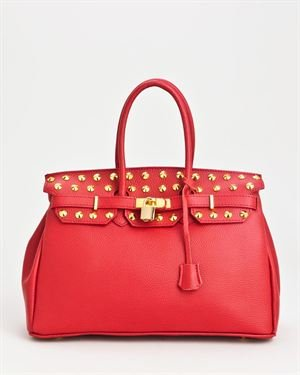 Bright Stud Embellished Genuine Leather Satchel - Made In Italy $119