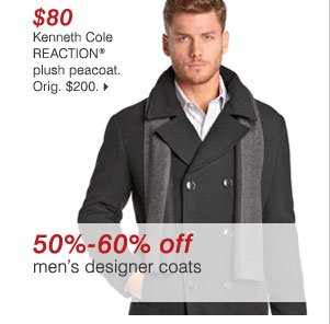 $80 Kenneth Cole REACTION® plush peacoat. Orig. $200. 50% - 60% off men's designer coats >>
