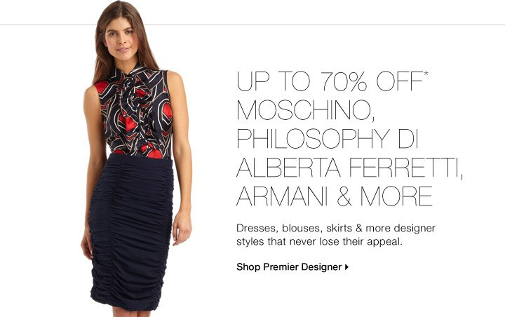 Up To 70% Off* Moschino, Philosophy Di Alberta Ferretti, Armani  & More
