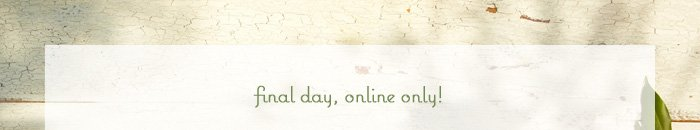 Final day, online only!