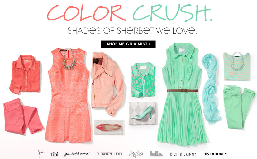 COLOR CRUSH. SHOP MELON & MINT