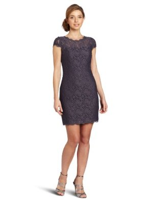 Adrianna Papell <br/>  Cap-Sleeve Stretch-Lace Dress