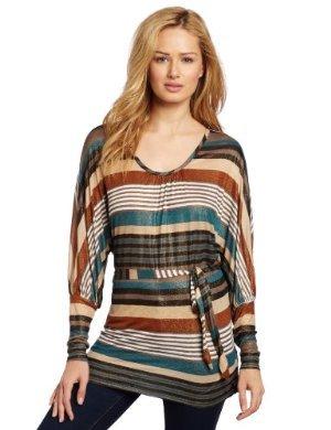 Seven7 <br/> Long Sleeve Stripe Belted Top