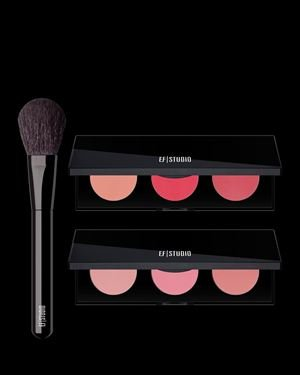 EF Studio Set Of 2 Bright Cheek Palettes & Essential Blush Brush