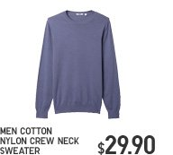MEN COTTON NYLON CREW NECK SWEATER