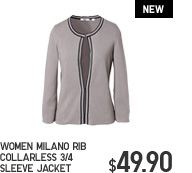 WOMEN MILANO RIB COLLARLESS 3/4 SLEEVE JACKET