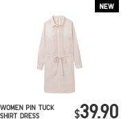 WOMEN PIN TUCK SHIRT DRESS