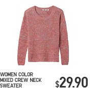 WOMEN COLOR MIXED CREW NECK SWEATER