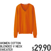 WOMEN COTTON BLENDED V NECK SWEATER