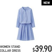 WOMEN STAND COLLAR DRESS