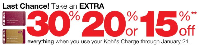 LAST CHANCE! Take an EXTRA 30%, 20% or 15% Off everything  when you use your Kohl's Charge through January 21.