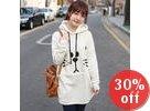 Fleeced-Line Hooded Appliqué Pullover