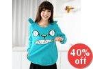 Cat Print Centre Zip Pullover