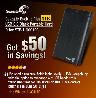 Seagate Backup Plus 1TB USB 3.0 Black Portable Hard Drive STBU1000100