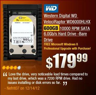 Western Digital WD VelociRaptor WD6000HLHX 600GB 10000 RPM SATA 6.0Gb/s Hard Drive -Bare Drive