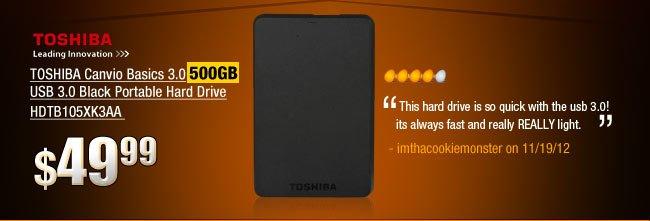 TOSHIBA Canvio Basics 3.0 500GB USB 3.0 Black Portable Hard Drive HDTB105XK3AA