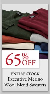 65% OFF* Executive Merino Wool Blend Sweaters