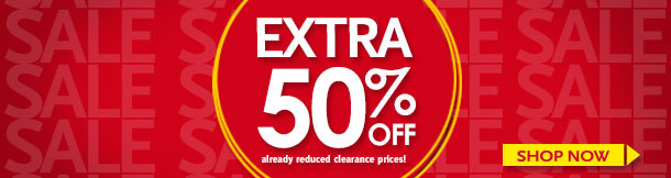 Take an EXTRA 50% OFF already reduced clearance prices!  Shop Now