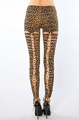 The Slashed Back Legging in Natural Leopard