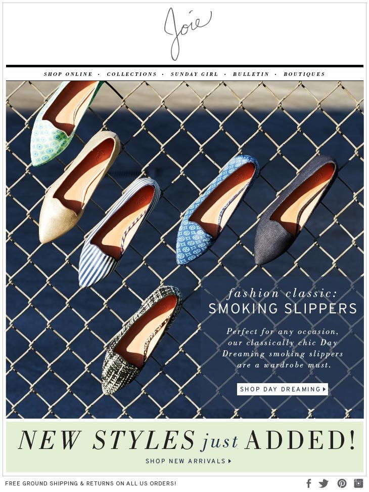 fashion classic: SMOKING SLIPPERS Perfect for any occasion, our classically chic Day Dreaming smoking slippers are a wardrobe must. SHOP DAY DREAMING>