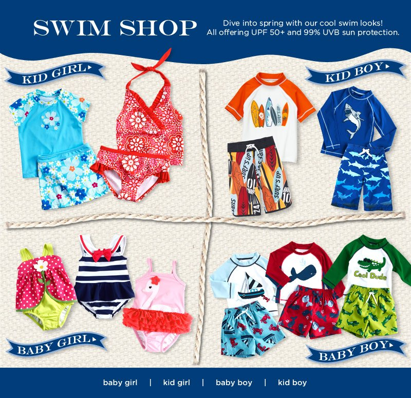 Swim Shop. Dive into spring with our cool swim looks! All offering UPF 50+ and 99% UVB sun protection.
