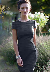 V I P Black Mesh Short Sleeve Pencil Dress
