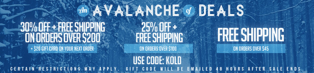 30% Off + Free Ship + $20 Gift Card on orders over $200! Use Code: KOLD!