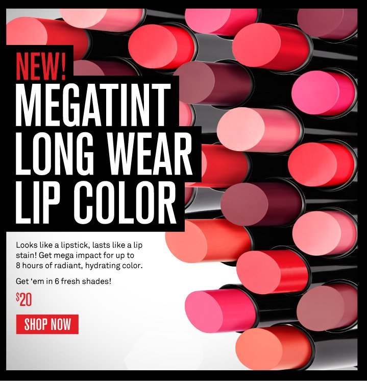 New! Megatint Long Wear Lip Color