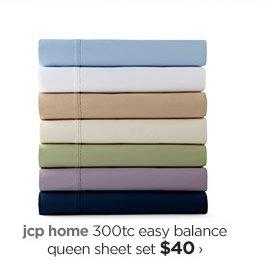 jcp home 300tc easy balance queen sheet set $40›