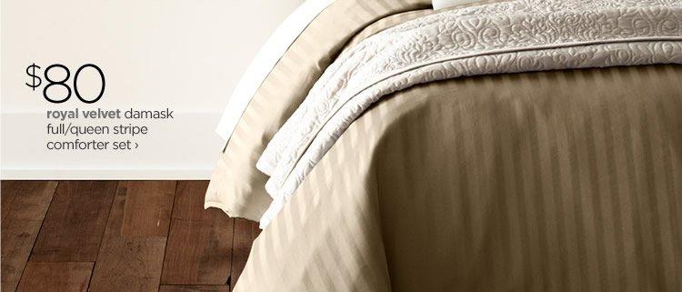 $80 royal velvet damask full/queen stripe comforter set›