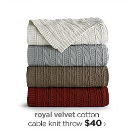 royal velvet cotton cable knit throw $40›