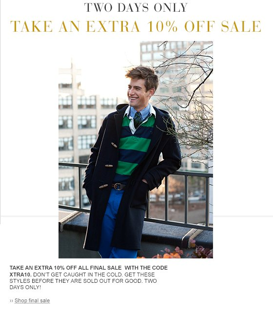 take an additional 10% off final sale