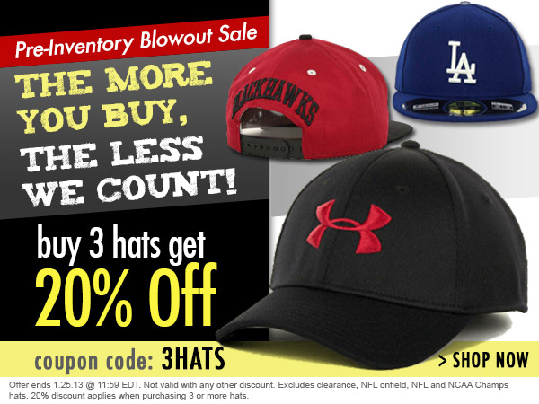 Pre-Inventory Blowout Sale - Buy 3 Hats Get 20% Off!