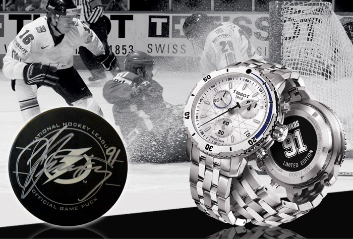 GIFT WITH PURCHASE Buy a Tissot Hockey watch or Steven Stamkos LTD watch and receive a hockey puck signed by Steven Stamkos. Enter code HOCKEY2013 in checkout SHOP NOW