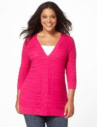 Purple,Bright Berry Ribbed V-Neck Sweater