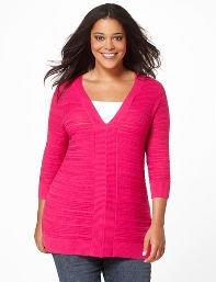 Purple,Bright Berry Ribbed V-Neck Sweater