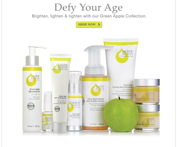 Defy Your Age - Brighten, lighten & tighten with our Green Apple Collection.