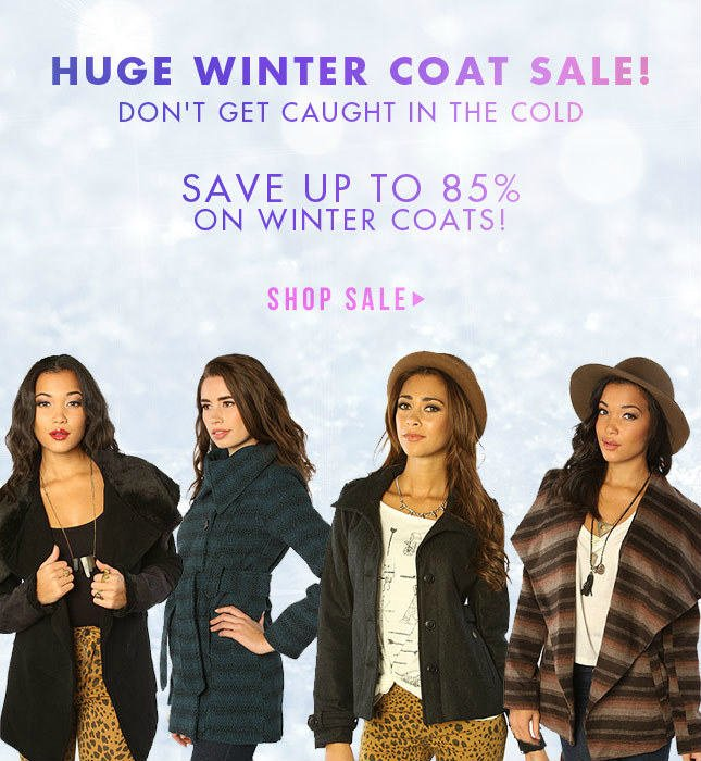 Huge Winter Coat Sale! Save up to 85% Off!
