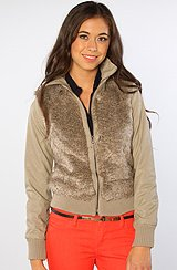 The Sonya Dry Crinkle PU Faux Fur Jacket in Taupe