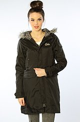 The Decadent Hooded Parka with Faux Fur Trim in Black