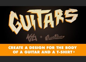 Create a design for the body of a guitar and a t-shirt.