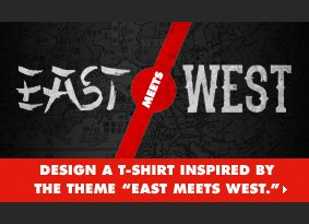 Design a t-shirt inspired by the theme 'East Meets West'
