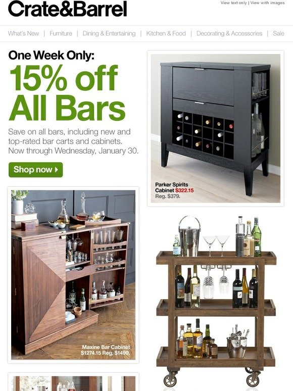 Crate And Barrel: 15% Off All Bars. 1 Week Only. | Milled