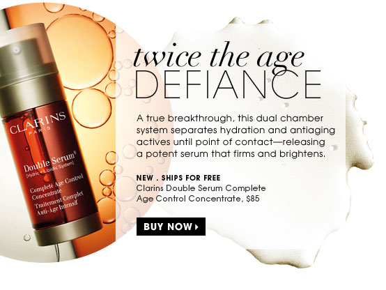 Twice the age defiance. A true breakthrough, this dual chamber system separates hydration and antiaging actives until point of contactâ??releasing a potent serum that firms and brightens. new . ships for free. Clarins Double Serum Complete Age Control Concentrate, $85