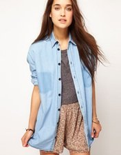 ASOS Denim Boyfriend Shirt with Shadow Pocket