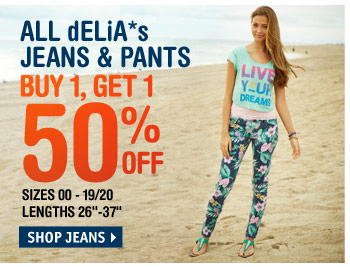 JEANS & PANTS BUY 1, GET  50% OFF