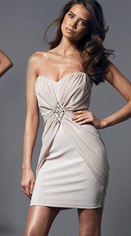 Bandeau Ruffle Chiffon Dress