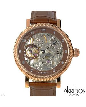 Brand New AKRIBOS XXIV Stainless Steel and Leather Watch $109